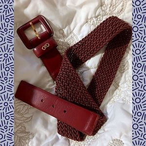 Cole Haan Genuine Leather Wine Woven Belt